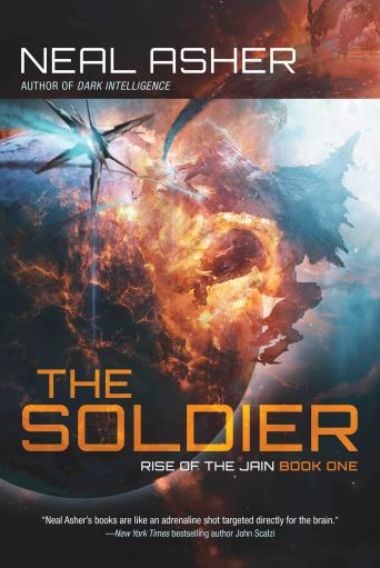 Cover of The Soldier showing a space battle near a planet