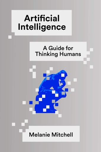 "Cover of ""Artificial Intelligence"" showing an pixelated outline of The Thinker statue"