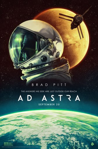 Ad Astra movie poster showing an astronaut helmet and spaceship in space with planets in the background