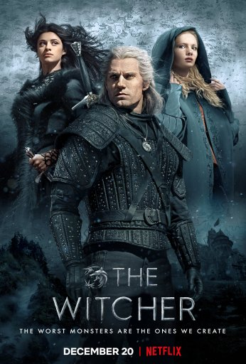 Poster for The Witcher showing the main characters