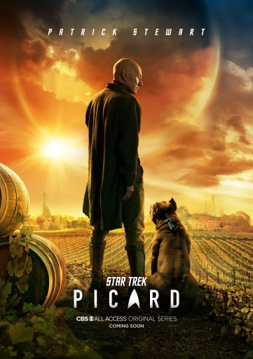 Poster for Star Trek Picard, showing Picard standing with his dog